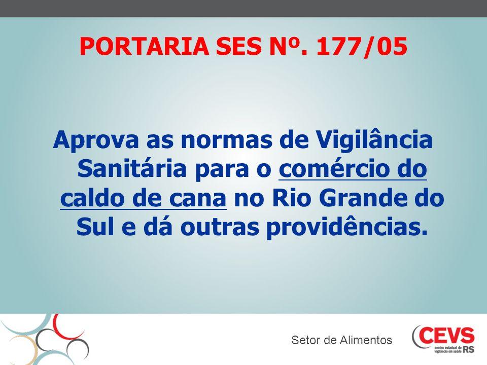 PORTARIA SES Nº. 177/05 Aprova as normas de Vigilância Sanitária para o comércio do caldo de cana no Rio Grande do Sul e dá outras providências. Setor