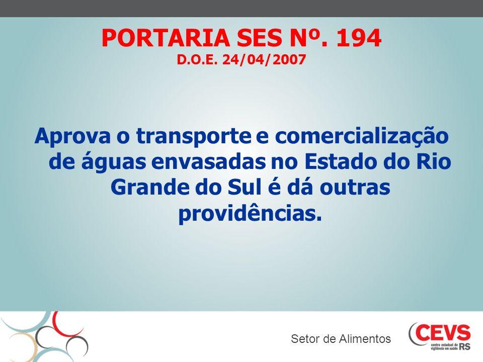 PORTARIA SES Nº. 194 D.O.E. 24/04/2007 Aprova o transporte e comercialização de águas envasadas no Estado do Rio Grande do Sul é dá outras providência