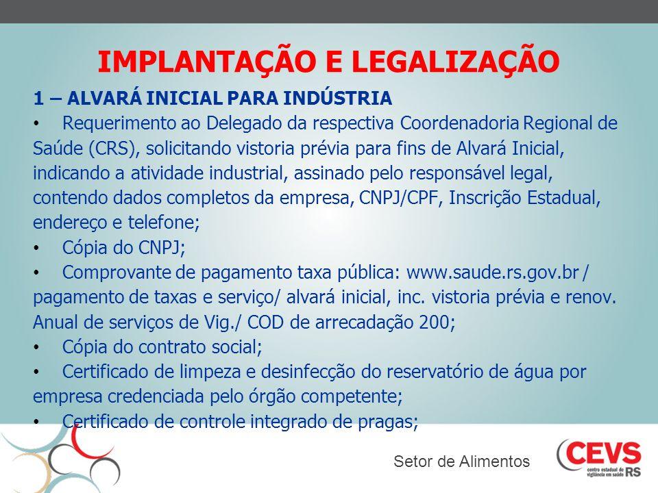 IMPLANTAÇÃO E LEGALIZAÇÃO 1 – ALVARÁ INICIAL PARA INDÚSTRIA Requerimento ao Delegado da respectiva Coordenadoria Regional de Saúde (CRS), solicitando