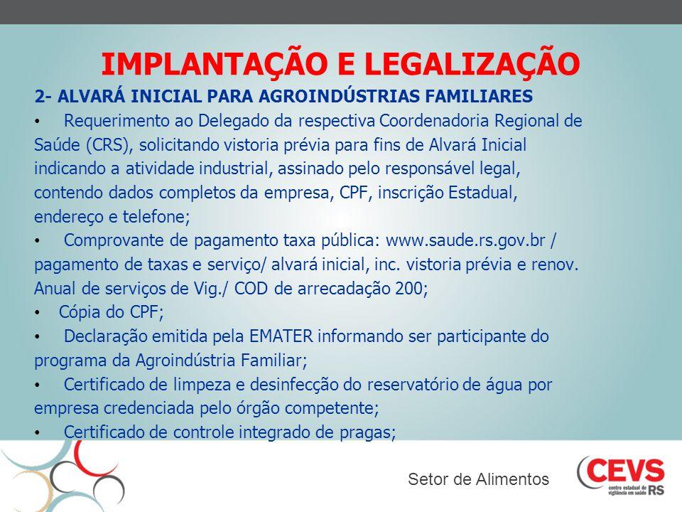 IMPLANTAÇÃO E LEGALIZAÇÃO 2- ALVARÁ INICIAL PARA AGROINDÚSTRIAS FAMILIARES Requerimento ao Delegado da respectiva Coordenadoria Regional de Saúde (CRS