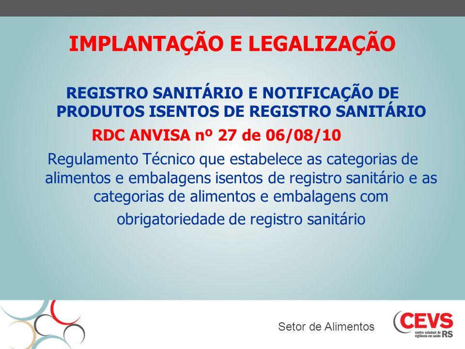 IMPLANTAÇÃO E LEGALIZAÇÃO REGISTRO SANITÁRIO E NOTIFICAÇÃO DE PRODUTOS ISENTOS DE REGISTRO SANITÁRIO RDC ANVISA nº 27 de 06/08/10 Regulamento Técnico
