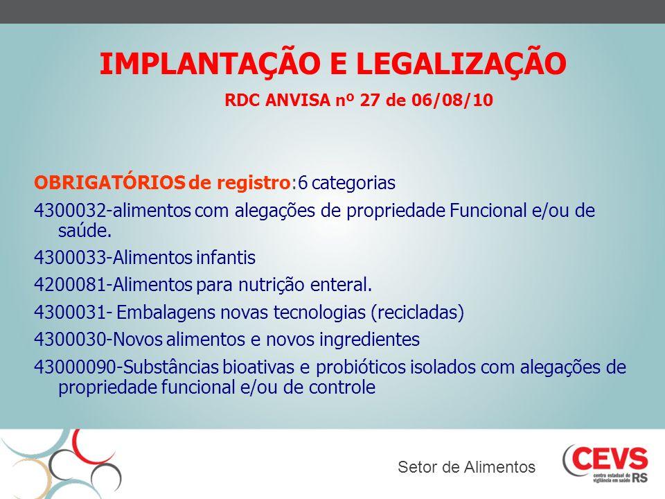 IMPLANTAÇÃO E LEGALIZAÇÃO OBRIGATÓRIOS de registro:6 categorias 4300032-alimentos com alegações de propriedade Funcional e/ou de saúde. 4300033-Alimen