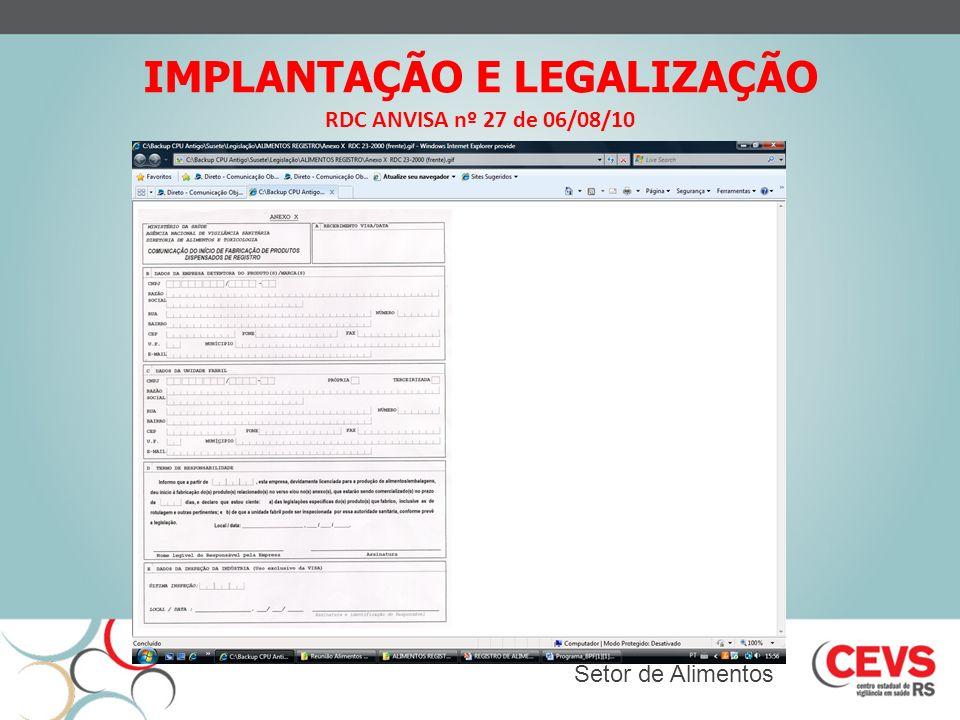 IMPLANTAÇÃO E LEGALIZAÇÃO RDC ANVISA nº 27 de 06/08/10 Setor de Alimentos