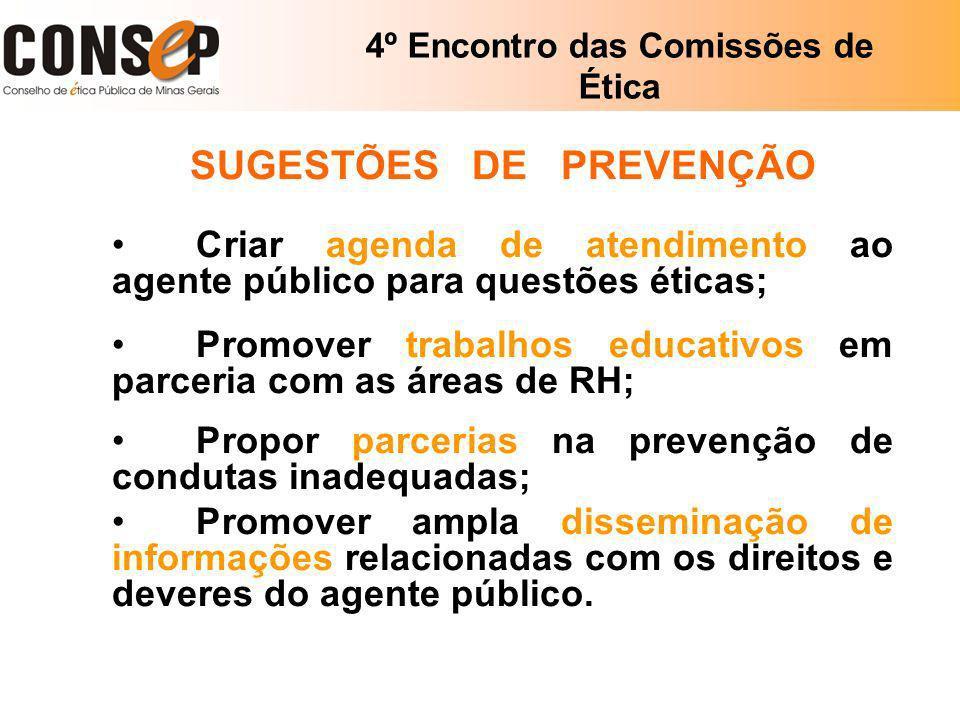 4º Encontro das Comissões de Ética SUGESTÕES DE PREVENÇÃO Criar agenda de atendimento ao agente público para questões éticas; Promover trabalhos educa