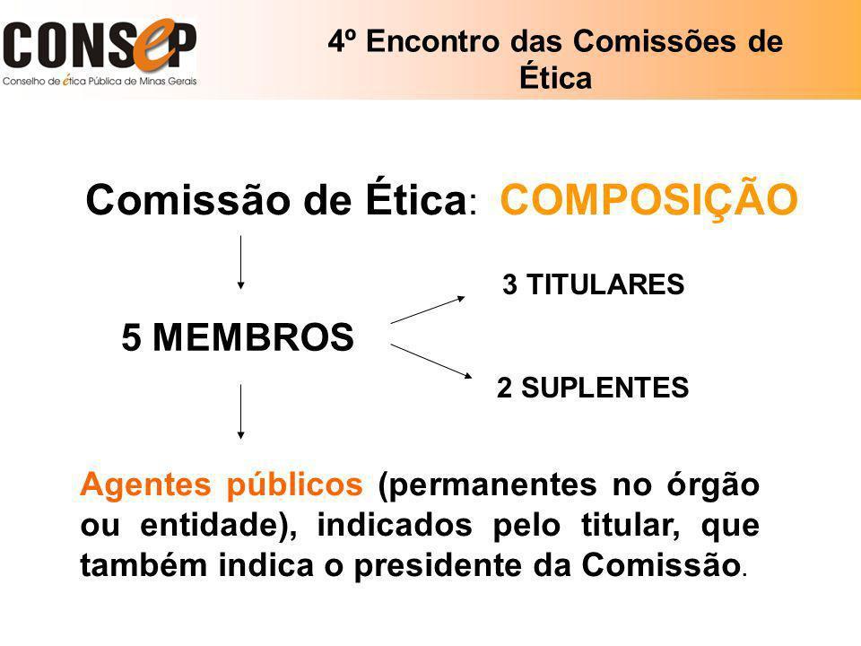 4º Encontro das Comissões de Ética Comissão de Ética : COMPOSIÇÃO 5 MEMBROS Agentes públicos (permanentes no órgão ou entidade), indicados pelo titula