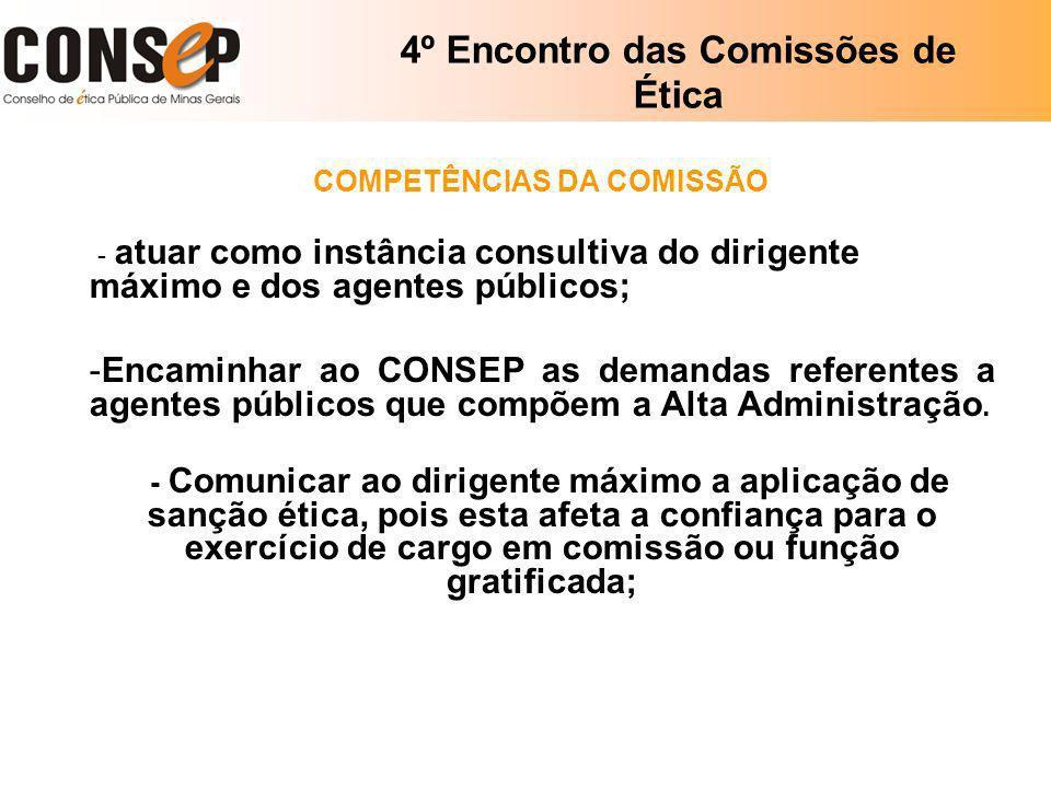 4º Encontro das Comissões de Ética COMPETÊNCIAS DA COMISSÃO - atuar como instância consultiva do dirigente máximo e dos agentes públicos; -Encaminhar