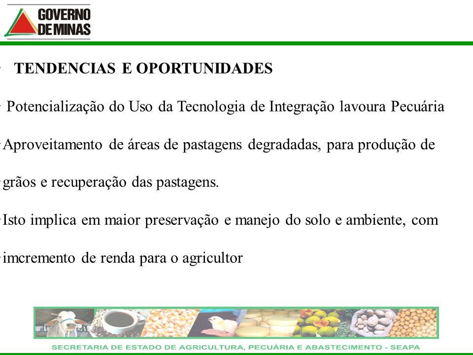 TENDENCIAS E OPORTUNIDADES Potencialização do Uso da Tecnologia de Integração lavoura Pecuária Aproveitamento de áreas de pastagens degradadas, para p