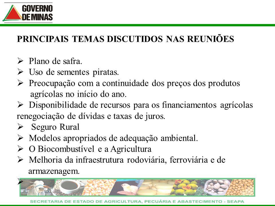 PRINCIPAIS TEMAS DISCUTIDOS NAS REUNIÕES Plano de safra. Uso de sementes piratas. Preocupação com a continuidade dos preços dos produtos agrícolas no