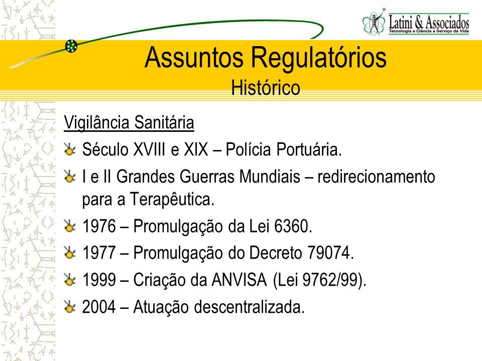Assuntos Regulatórios Histórico Vigilância Sanitária Século XVIII e XIX – Polícia Portuária. I e II Grandes Guerras Mundiais – redirecionamento para a