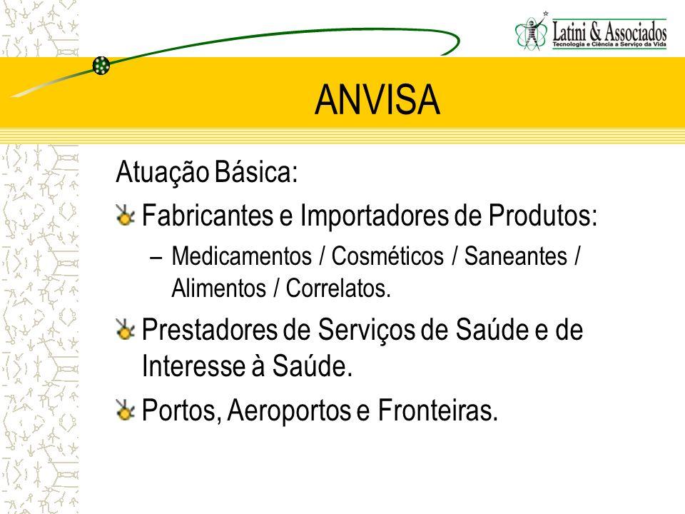 ANVISA Atuação Básica: Fabricantes e Importadores de Produtos: –Medicamentos / Cosméticos / Saneantes / Alimentos / Correlatos. Prestadores de Serviço