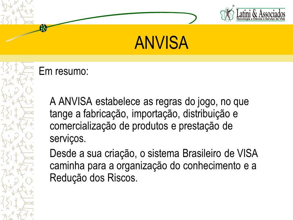 ANVISA Em resumo: A ANVISA estabelece as regras do jogo, no que tange a fabricação, importação, distribuição e comercialização de produtos e prestação