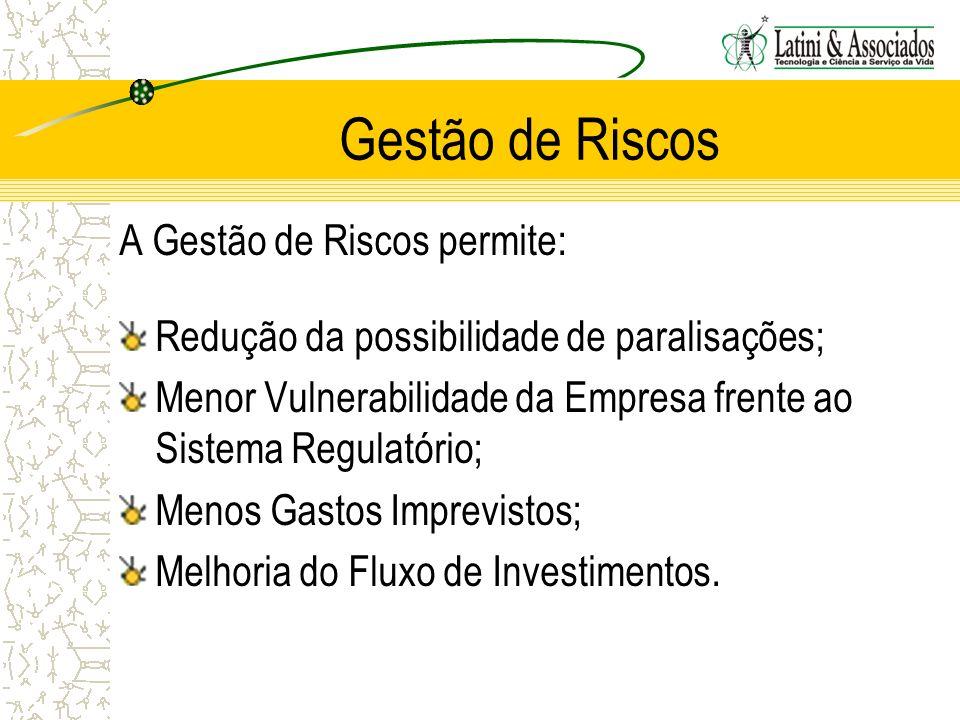 Gestão de Riscos A Gestão de Riscos permite: Redução da possibilidade de paralisações; Menor Vulnerabilidade da Empresa frente ao Sistema Regulatório;