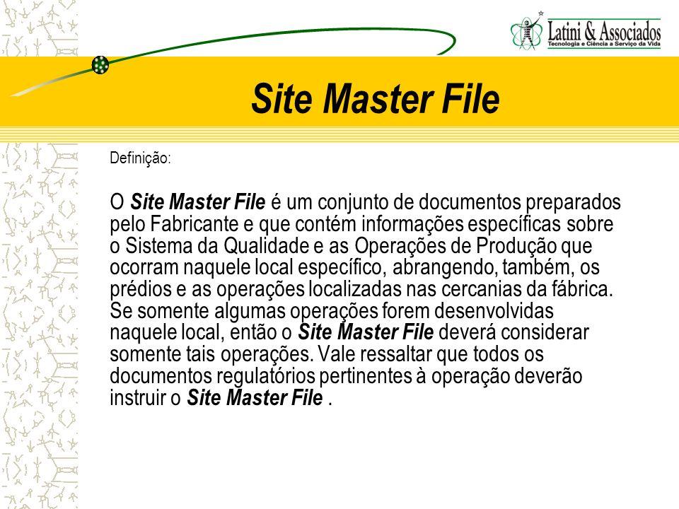Site Master File Definição: O Site Master File é um conjunto de documentos preparados pelo Fabricante e que contém informações específicas sobre o Sis