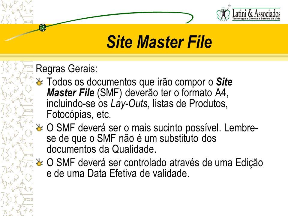 Site Master File Regras Gerais: Todos os documentos que irão compor o Site Master File (SMF) deverão ter o formato A4, incluindo-se os Lay-Outs, lista