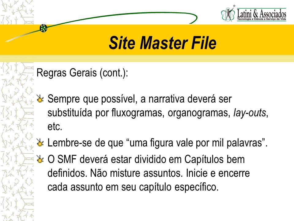 Site Master File Regras Gerais (cont.): Sempre que possível, a narrativa deverá ser substituída por fluxogramas, organogramas, lay-outs, etc. Lembre-s