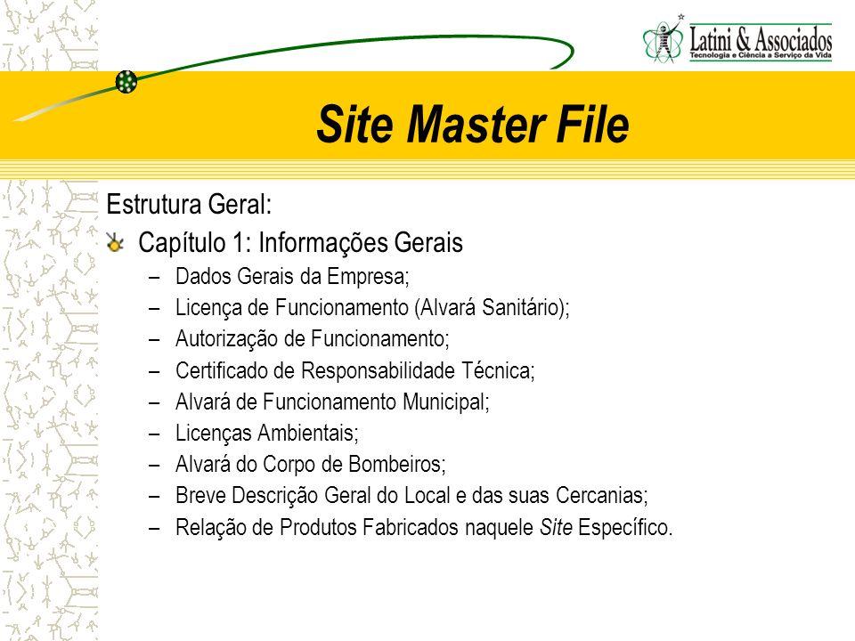 Site Master File Estrutura Geral: Capítulo 1: Informações Gerais –Dados Gerais da Empresa; –Licença de Funcionamento (Alvará Sanitário); –Autorização