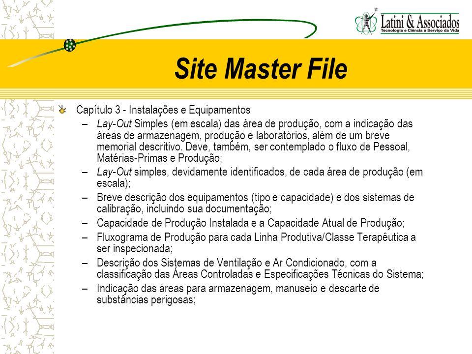 Site Master File Capítulo 3 - Instalações e Equipamentos – Lay-Out Simples (em escala) das área de produção, com a indicação das áreas de armazenagem,