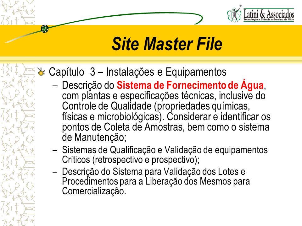 Site Master File Capítulo 3 – Instalações e Equipamentos –Descrição do Sistema de Fornecimento de Água, com plantas e especificações técnicas, inclusi