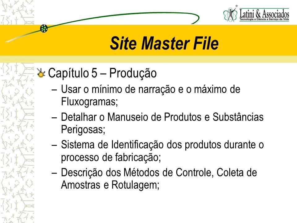 Site Master File Capítulo 5 – Produção –Usar o mínimo de narração e o máximo de Fluxogramas; –Detalhar o Manuseio de Produtos e Substâncias Perigosas;