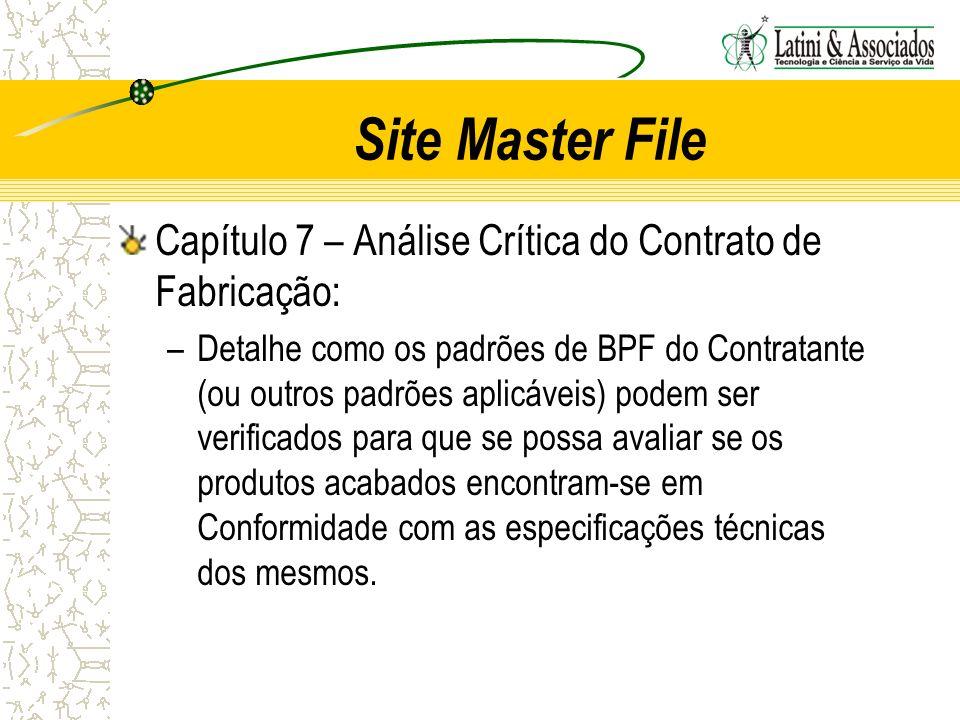 Site Master File Capítulo 7 – Análise Crítica do Contrato de Fabricação: –Detalhe como os padrões de BPF do Contratante (ou outros padrões aplicáveis)