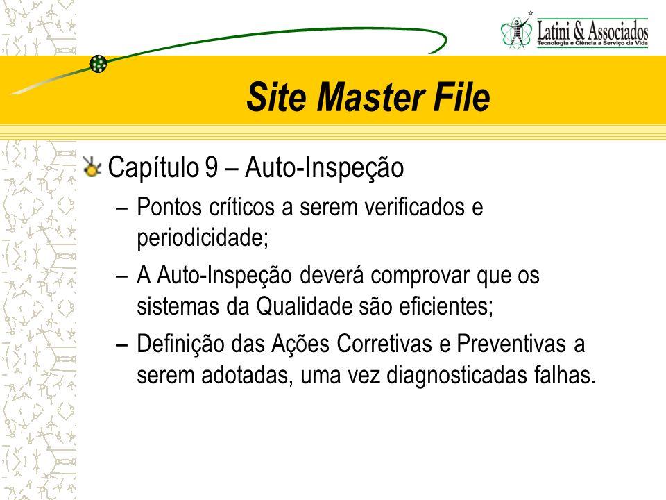 Site Master File Capítulo 9 – Auto-Inspeção –Pontos críticos a serem verificados e periodicidade; –A Auto-Inspeção deverá comprovar que os sistemas da