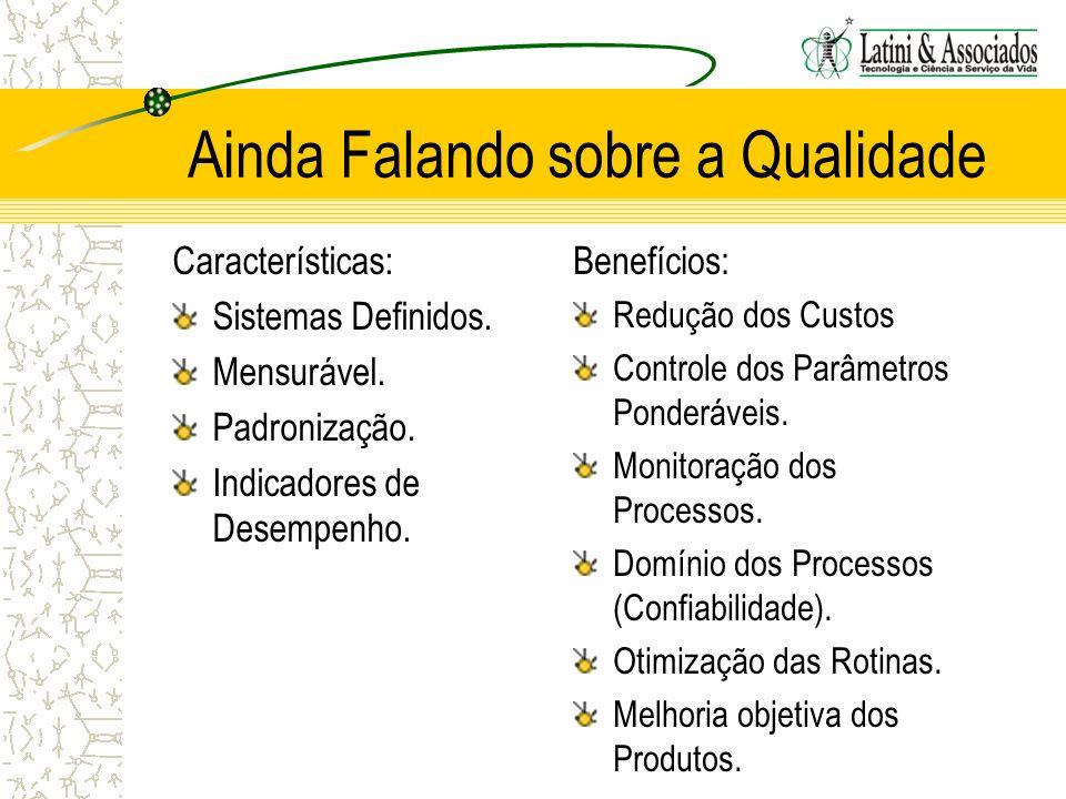 Ainda Falando sobre a Qualidade Características: Sistemas Definidos. Mensurável. Padronização. Indicadores de Desempenho. Benefícios: Redução dos Cust