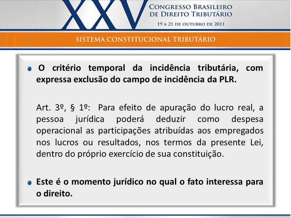 O critério temporal da incidência tributária, com expressa exclusão do campo de incidência da PLR. Art. 3º, § 1º: Para efeito de apuração do lucro rea