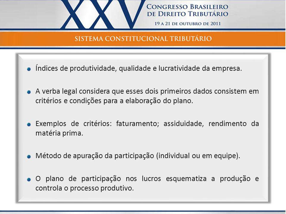 Índices de produtividade, qualidade e lucratividade da empresa. A verba legal considera que esses dois primeiros dados consistem em critérios e condiç