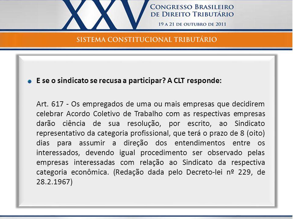 E se o sindicato se recusa a participar? A CLT responde: Art. 617 - Os empregados de uma ou mais empresas que decidirem celebrar Acordo Coletivo de Tr