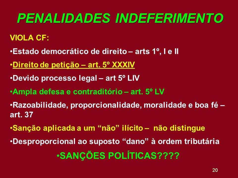 20 PENALIDADES INDEFERIMENTO VIOLA CF: Estado democrático de direito – arts 1º, I e II Direito de petição – art. 5º XXXIV Devido processo legal – art