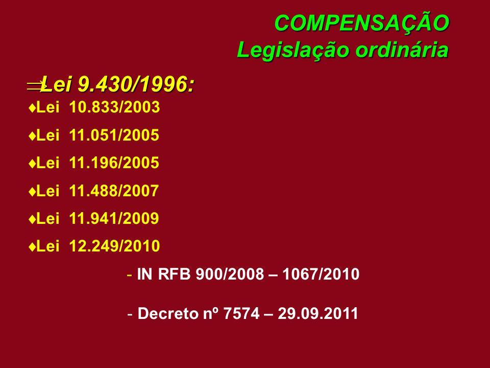 COMPENSAÇÃO Legislação ordinária Lei 9.430/1996: Lei 9.430/1996: Lei 10.833/2003 Lei 11.051/2005 Lei 11.196/2005 Lei 11.488/2007 Lei 11.941/2009 Lei 1
