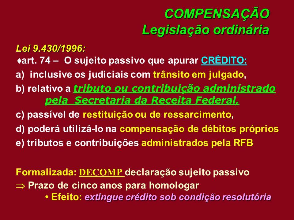 COMPENSAÇÃO Legislação ordinária Lei 9.430/1996: art. 74 – O sujeito passivo que apurar CRÉDITO: a) inclusive os judiciais com trânsito em julgado, b)