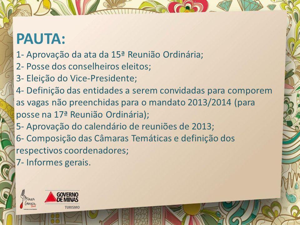 PAUTA: 1- Aprovação da ata da 15ª Reunião Ordinária; 2- Posse dos conselheiros eleitos; 3- Eleição do Vice-Presidente; 4- Definição das entidades a se