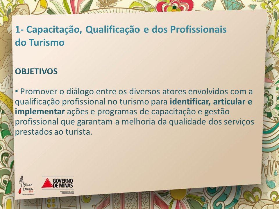 1- Capacitação, Qualificação e dos Profissionais do Turismo OBJETIVOS Promover o diálogo entre os diversos atores envolvidos com a qualificação profis