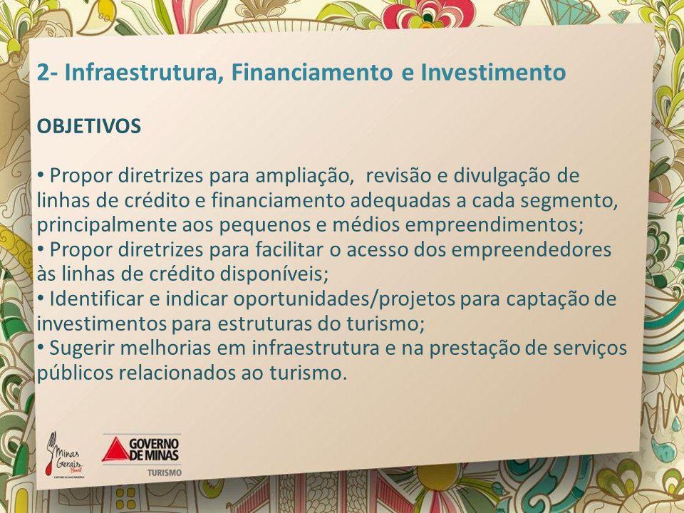 2- Infraestrutura, Financiamento e Investimento OBJETIVOS Propor diretrizes para ampliação, revisão e divulgação de linhas de crédito e financiamento