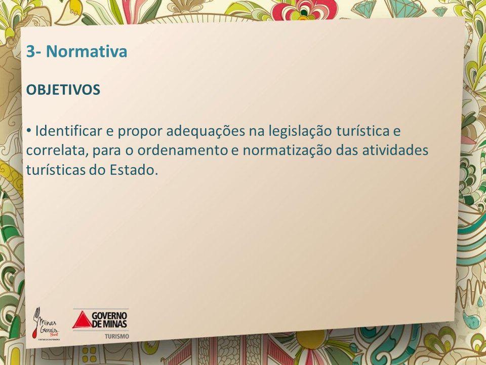3- Normativa OBJETIVOS Identificar e propor adequações na legislação turística e correlata, para o ordenamento e normatização das atividades turística