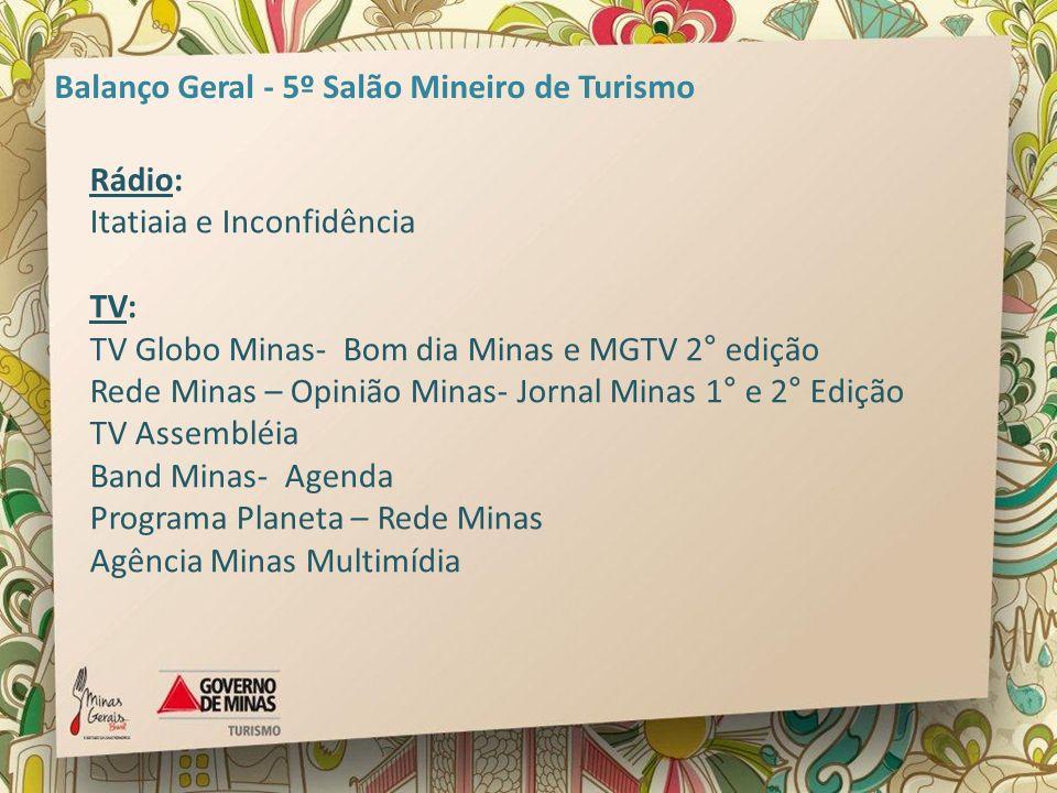 Rádio: Itatiaia e Inconfidência TV: TV Globo Minas- Bom dia Minas e MGTV 2° edição Rede Minas – Opinião Minas- Jornal Minas 1° e 2° Edição TV Assemblé