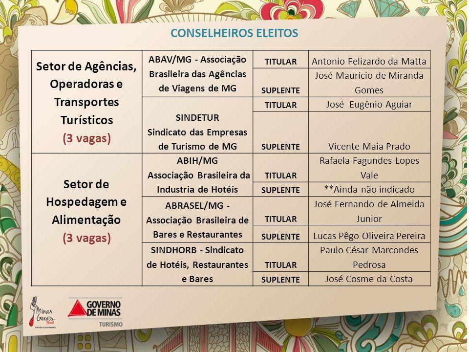 Setor de Agências, Operadoras e Transportes Turísticos (3 vagas) ABAV/MG - Associação Brasileira das Agências de Viagens de MG TITULAR Antonio Felizar