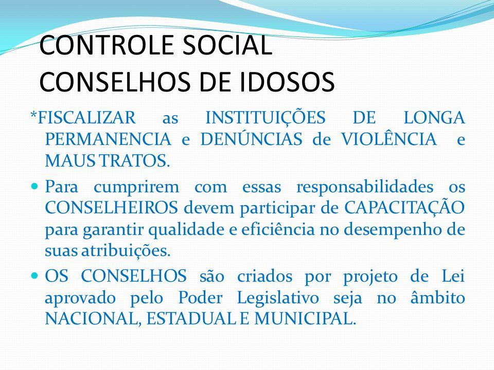 CONTROLE SOCIAL CONSELHOS DE IDOSOS *FISCALIZAR as INSTITUIÇÕES DE LONGA PERMANENCIA e DENÚNCIAS de VIOLÊNCIA e MAUS TRATOS. Para cumprirem com essas