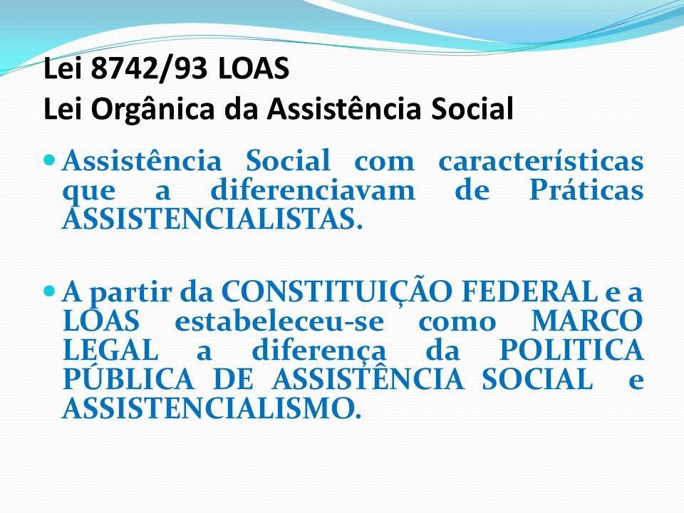 Lei 8742/93 LOAS Lei Orgânica da Assistência Social Assistência Social com características que a diferenciavam de Práticas ASSISTENCIALISTAS. A partir