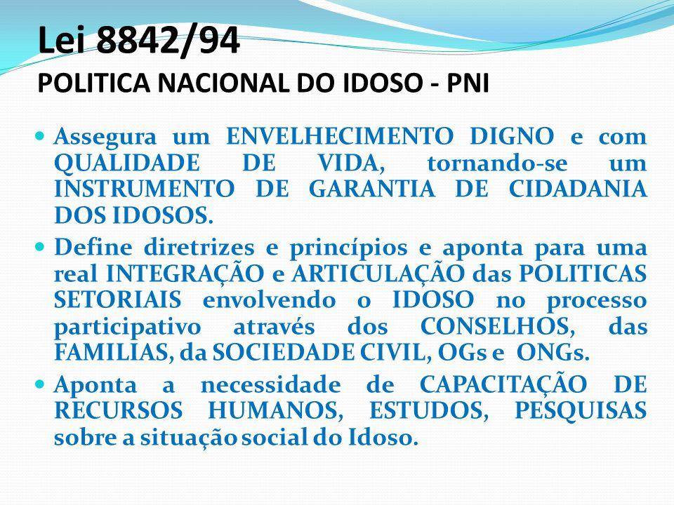 Lei 8842/94 POLITICA NACIONAL DO IDOSO - PNI Assegura um ENVELHECIMENTO DIGNO e com QUALIDADE DE VIDA, tornando-se um INSTRUMENTO DE GARANTIA DE CIDAD