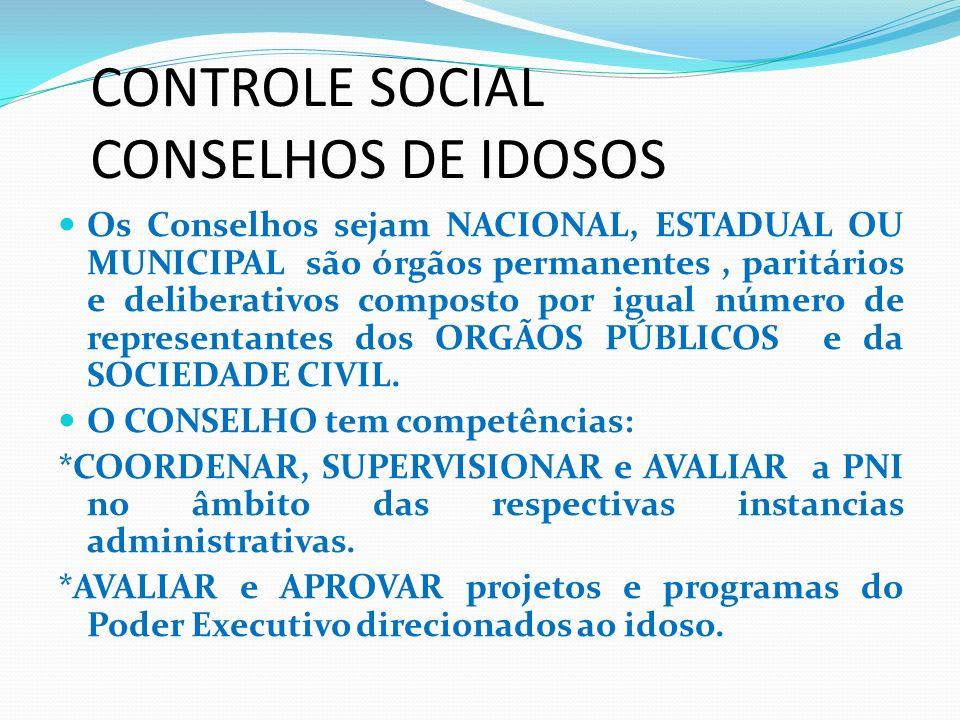 CONTROLE SOCIAL CONSELHOS DE IDOSOS Os Conselhos sejam NACIONAL, ESTADUAL OU MUNICIPAL são órgãos permanentes, paritários e deliberativos composto por