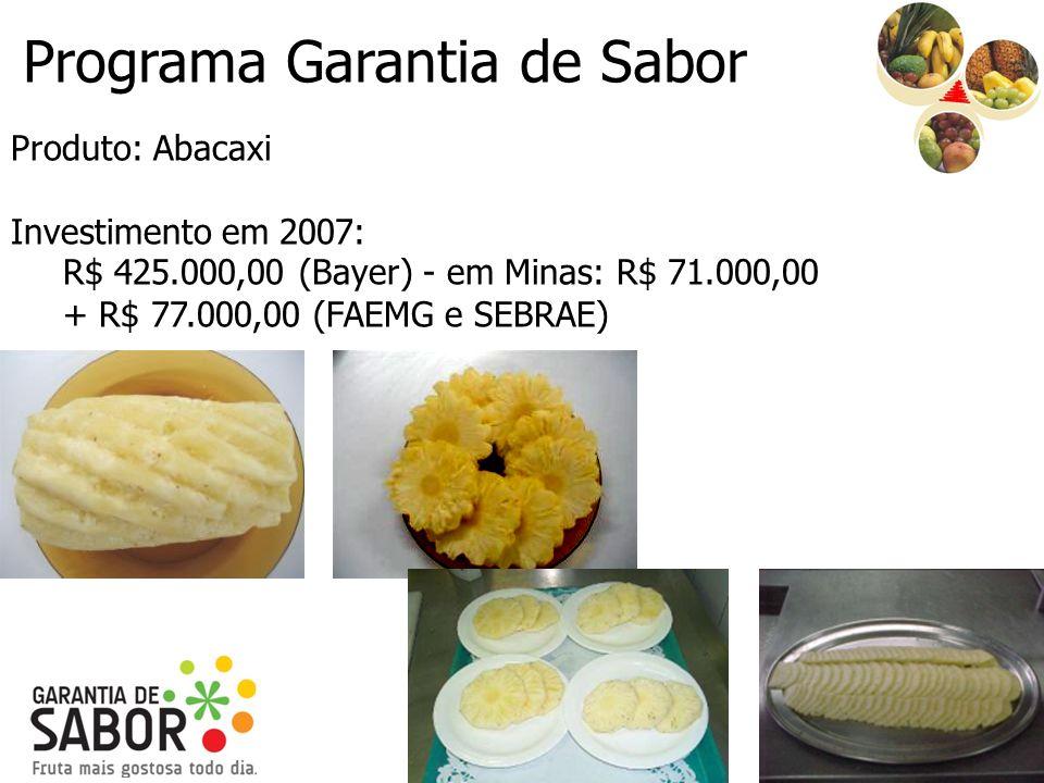 Programa Garantia de Sabor Produto: Abacaxi Investimento em 2007: R$ 425.000,00 (Bayer) - em Minas: R$ 71.000,00 + R$ 77.000,00 (FAEMG e SEBRAE)