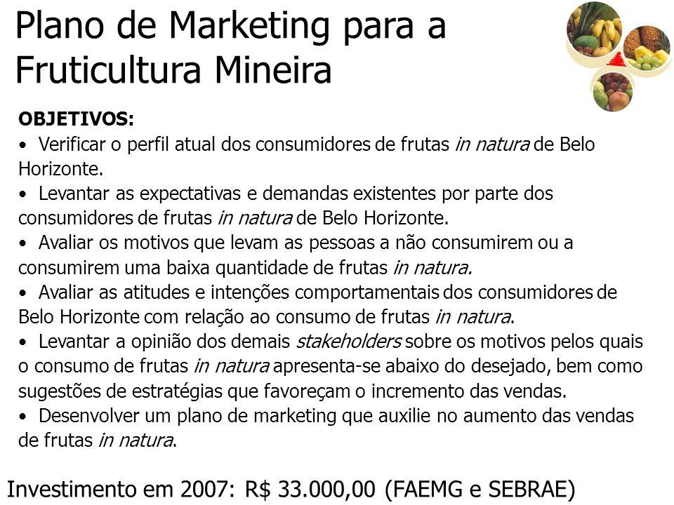 Plano de Marketing para a Fruticultura Mineira OBJETIVOS: Verificar o perfil atual dos consumidores de frutas in natura de Belo Horizonte. Levantar as