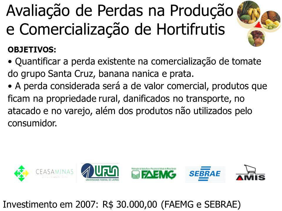 Avaliação de Perdas na Produção e Comercialização de Hortifrutis OBJETIVOS: Quantificar a perda existente na comercialização de tomate do grupo Santa
