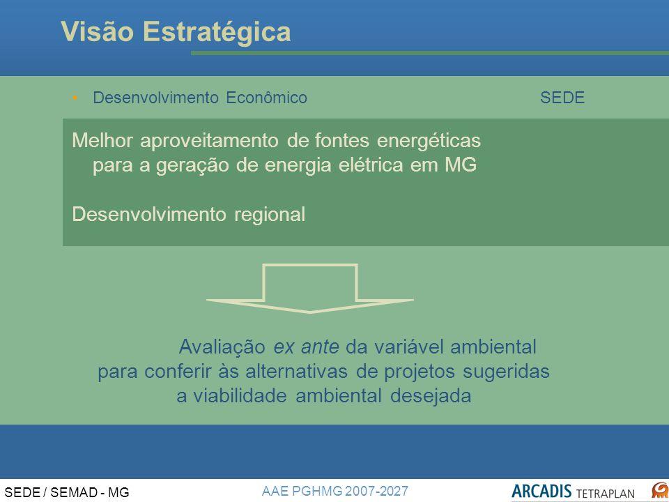 AAE PGHMG 2007-2027 SEDE / SEMAD - MG Visão Estratégica Desenvolvimento EconômicoSEDE Melhor aproveitamento de fontes energéticas para a geração de energia elétrica em MG Desenvolvimento regional Avaliação ex ante da variável ambiental para conferir às alternativas de projetos sugeridas a viabilidade ambiental desejada
