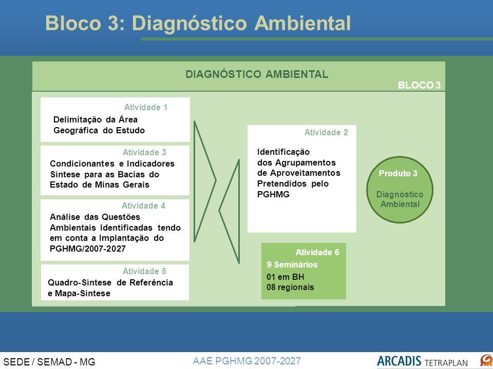 AAE PGHMG 2007-2027 SEDE / SEMAD - MG Bloco 3: Diagnóstico Ambiental DIAGNÓSTICO AMBIENTAL Produto 3 Diagnóstico Ambiental BLOCO 3 Atividade 3 Atividade 4 Atividade 1 Atividade 4 Delimitação da Área Geográfica do Estudo Análise das Questões Ambientais Identificadas Tendo em Conta a Implantação do PGHMG/2007-2027.