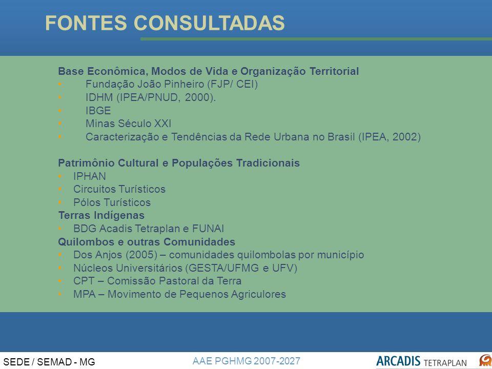 AAE PGHMG 2007-2027 SEDE / SEMAD - MG FONTES CONSULTADAS Base Econômica, Modos de Vida e Organização Territorial Fundação João Pinheiro (FJP/ CEI) IDHM (IPEA/PNUD, 2000).
