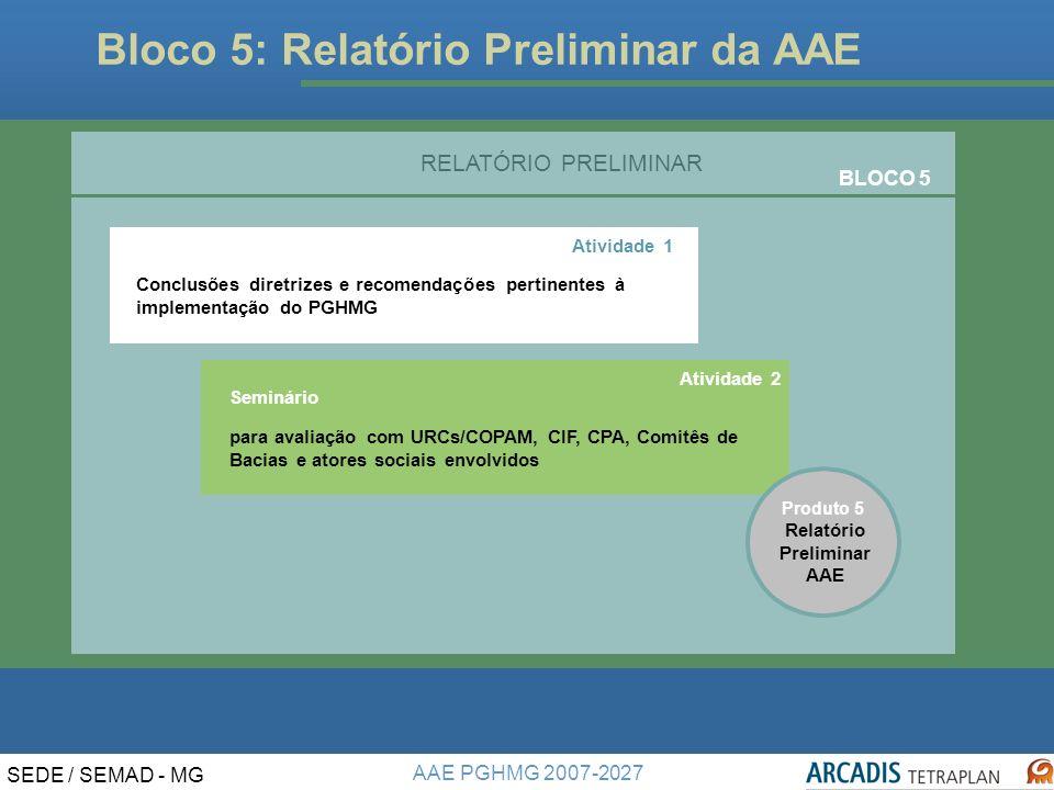 AAE PGHMG 2007-2027 SEDE / SEMAD - MG Bloco 5: Relatório Preliminar da AAE Relatório Preliminar AAE Seminário para avaliação com URCs/COPAM, CIF, CPA, Comitês de Bacias e atores sociais envolvidos RELATÓRIO PRELIMINAR BLOCO 5 Atividade 1 Conclusões diretrizes e recomendações pertinentesà implementação do PGHMG.
