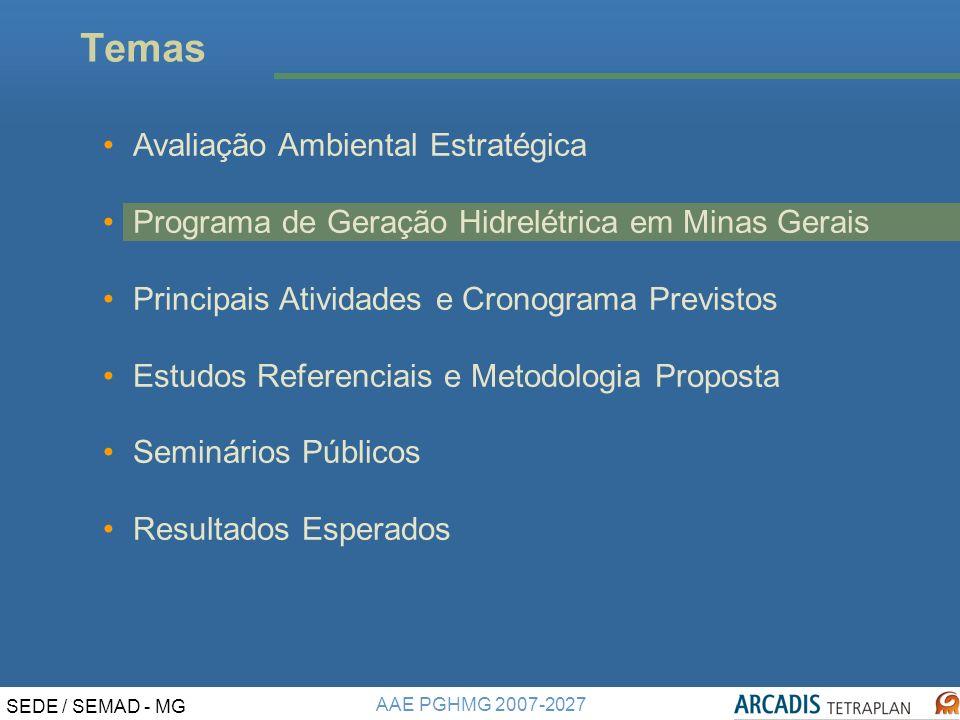 AAE PGHMG 2007-2027 SEDE / SEMAD - MG FONTES CONSULTADAS Recursos Hídricos e Ecossistemas Aquáticos Plano Estadual de Recursos Hídricos – PERH Outorgas de direito de uso das águas superficiais e subterrâneas Rede Hídrica e enquadramento dos corpos dágua Projeto Águas de Minas - Rede de Monitoramento da Qualidade da Água Atlas Digital das Águas de Minas Programa Brasil das Águas Ecorregiões Aquáticas - MMA Pesquisa Nacional de Saneamento (IBGE, 2000) e ICMS Ecológico Ictiofauna Artigos científicos CEMIG e IBAMA Atlas de Biodiversidade (Biodiversitas, 2005) Meio Físico Geologia, Geomorfologia e Pedologia ZEE MG Mapa de Áreas Requeridas (DNPM) Mapa Geológico do Brasil (CPRM)